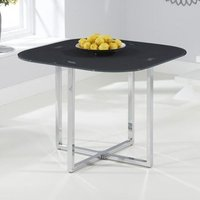 Product photograph showing Ophiuchus Grey Glass Top Dining Table With Chrome Legs