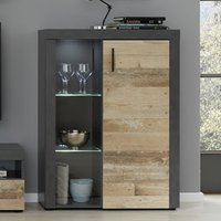 Product photograph showing Opus Led Display Cabinet In Pale Wood And Matera