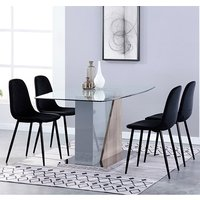 Product photograph showing Opus Glass Dining Set With 4 Alpine Black Velvet Chairs