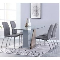 Product photograph showing Opus Glass Dining Set With 4 Boston Grey Leather Chairs