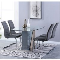 Product photograph showing Opus Glass Dining Set With 4 New York Grey Leather Chairs