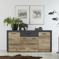 Product photograph showing Opus Sideboard In Pale Wood And Matera With 4 Doors And 3 Drawer