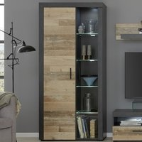 Product photograph showing Opus Led Tall Display Cabinet In Pale Wood And Matera