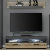 Product photograph showing Opus Led Tv Stand With Wall Shelf In Pale Wood And Matera