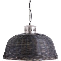 Product photograph showing Orals Wicker Large Pendant Light In Black