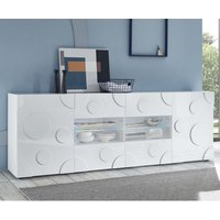 Orb Wooden Sideboard In White High Gloss With 2 Doors 4 Drawers