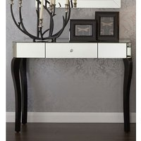 Product photograph showing Orca Mirrored Console Table With Black Wooden Legs