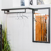 Product photograph showing Orem Metal Wall Hung Coat Rack With Mirror In Anthracite