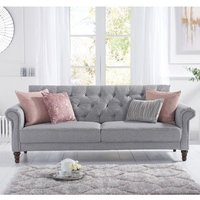 Product photograph showing Orexo Linen Fabric Upholstered Sofa Bed In Grey