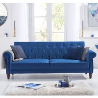 Product photograph showing Orexo Velvet Upholstered Sofa Bed In Blue