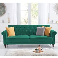 Product photograph showing Orexo Velvet Upholstered Sofa Bed In Green