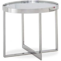 Product photograph showing Orla Glass Top End Table In Clear With Polished Steel Base