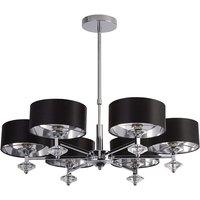 Product photograph showing Orleans Chrome 6 Pendant Light With Black Shade And Silver Inner