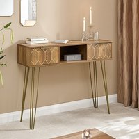 Product photograph showing Orleans Console Table In Mango Wood Effect With 2 Drawers