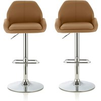 Product photograph showing Ormond Bar Stool In Taupe Faux Leather And Chrome Base In A Pair