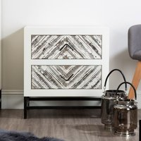 Product photograph showing Orphee Wooden Bedside Cabinet In White With 2 Drawers