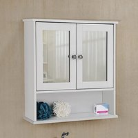 Product photograph showing Oshkosh 2 Mirrored Doors Wooden Wall Bathroom Cabinet In White