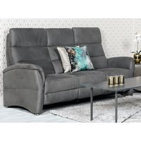 Product photograph showing Oslo Fabric Upholstered Electric Recliner 3 Seater Sofa In Grey