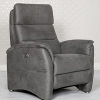 Product photograph showing Oslo Fabric Upholstered Electric Recliner Armchair In Grey