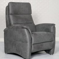 Product photograph showing Oslo Fabric Upholstered Fixed Armchair In Grey