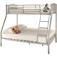 Product photograph showing Oslo Metal Double Bunk Bed In Silver