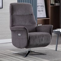 Product photograph showing Osterley Fabric Electric Swivel Recliner Chair In Flint