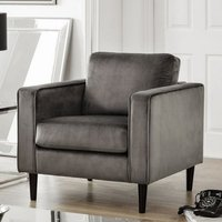 Oswald Armchair In Grey Velvet With Wooden Legs