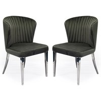 Product photograph showing Ottavia Grey Velvet Fabric Dining Chair In Pair