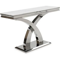 Product photograph showing Ottavia Marble Console Table In Bone White
