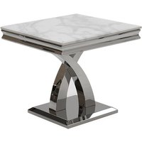 Product photograph showing Ottavia Marble Lamp Table In Bone White