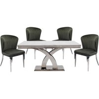 Ottavia Medium Marble Dining Table In Bone White With 4 Chairs