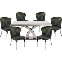Ottavia Medium Marble Dining Table In Bone White With 6 Chairs