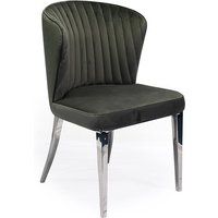 Product photograph showing Ottavia Velvet Fabric Dining Chair In Grey