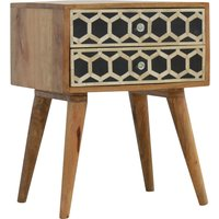 Ouzo Wooden Bedside Cabinet In Bone Inlay And Oak With 2 Drawers