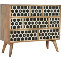 Product photograph showing Ouzo Wooden Chest Of Drawers In Bone Inlay And Oak With 8 Drawer