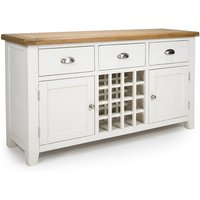 Oxford Wooden Sideboard In White And Oak With Wine Rack