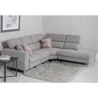 Product photograph showing Pacific Fabric Upholstered Right Handed Corner Sofa In Grey