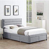 Paisley Linen Fabric Double Bed In Grey With 4 Drawers