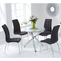 Product photograph showing Palmao Round Glass Dining Table With 4 Gala Black Dining Chairs