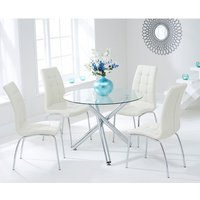 Product photograph showing Palmao Round Glass Dining Table With 4 Gala Cream Dining Chairs