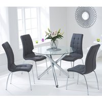 Product photograph showing Palmao Round Glass Dining Table With 4 Gala Grey Dining Chairs