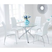 Product photograph showing Palmao Round Glass Dining Table With 4 Gala White Dining Chairs