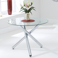 Product photograph showing Palmao Round Glass Dining Table With Chrome Legs