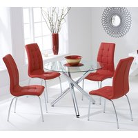 Product photograph showing Palmao Round Glass Dining Table With 4 Gala Red Dining Chairs
