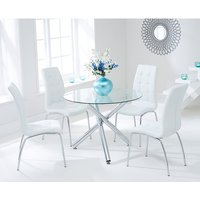 Palmer Round Glass Dining Table With 4 Gala White Dining