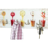 Product photograph showing Palos Glass Wall Hung 4 Hooks Coat Rack In Fruit Glasses Print