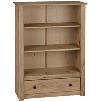 Product photograph showing Panama Wooden 1 Drawer Bookcase In Natural Wax
