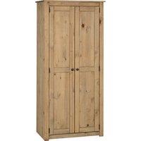 Product photograph showing Panama Wooden 2 Doors Wardrobe In Natural Wax