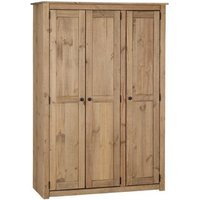 Product photograph showing Panama Wooden 3 Doors Wardrobe In Natural Wax