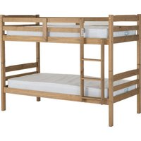 Product photograph showing Panama Wooden Single Bunk Bed In Natural Wax